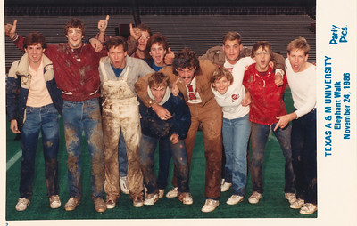 L to R: ?, Bruce Monroe (in maroon jacket), Frank Elsaser, ?, ?, Chris Howell (humped over), Kevin Holt, Ginny Stover, ?, Barry Douglas and Patrick Kane. TAMU Elephant Walk, College Station, Texas, November 24, 986