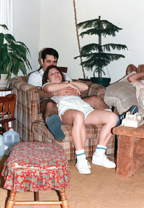 John and Tracy Kane at Patrick's college fourplex on Pedernales Drive, College Station, Texas, September 27, 1986