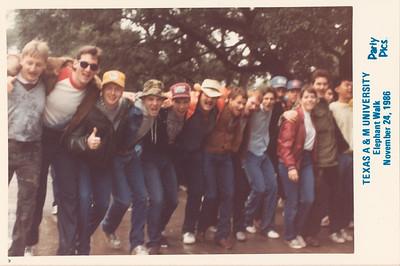 Rusty Baty third from left in yellow ball cap. TAMU Elephant Walk, College Station, Texas, November 24, 986