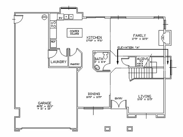 Room Layout<br /> <br /> The built-in entertainment center is in the family room, in an alcove that is under the staircase. The staircase, located between the family and living rooms, ascends into a cathedral ceiling that is shared between these two rooms.