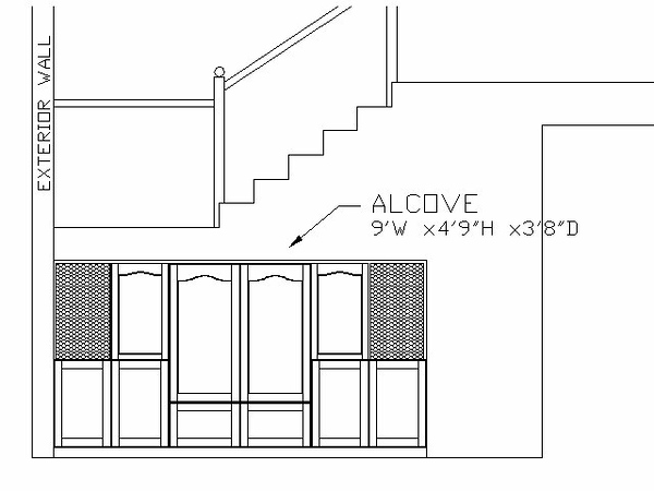 Cabinet Location<br /> <br /> This elevation view shows the location of the alcove and the cabinet (the final layout of the cabinet is different than shown). The alcove is bounded by the staircase on top, an exterior wall to the left, an interior wall to the right, and a back wall. The 9-ft wide by 4-ft 9-in high and 3-ft 8-in deep opening was a lot of wasted space. I decided to build in cabinets for A/V equipment and general storage.