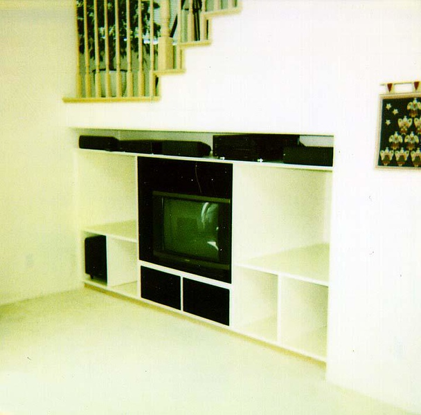 Fri 27 Jun. Installed the A/V equipment (e.g., A/V receiver, speakers, TV and VCR). Up next are sliding shelves for CD and videotape storage, a VCR shelf above the TV, side panels for the center cabinet's pocket door and raised panel doors to close everything off.