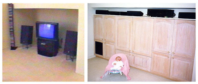 Before and after picture of the entertainment center that was built into the alcove under the staircase in the family room.