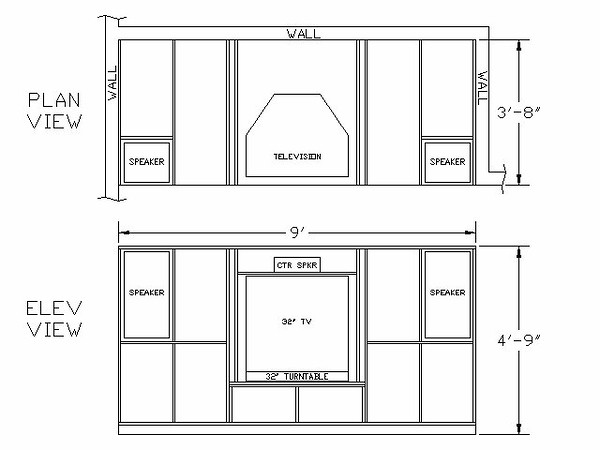 Cabinet Layout<br /> <br /> The first generation cabinet design included: 1) room in the middle for a 35-in TV, VCR and center channel speaker, behind two large raised-panel pocket doors; 2) room under the TV for an A/V receiver, CD player, and LD/DVD player behind glass doors; 3) to each side on top are storage for CD's and video tapes; the other cabinets are for miscellaneous storage; and 4) at each end, zero-clearance enclosures for two ported speakers. It was this last feature that presented a design problem. Placing the large JBL LX55 speakers in the cabinet with little clearance around the speakers' sides would defeat the speaker's ported design, possibly damage the speaker, and turn the cabinet itself into a very large speaker enclosure. It was the opinion of the majority of net citizens who provided feedback, that this was not a good idea.