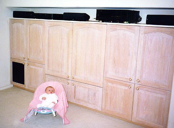 Early 1998. Finally, I received and installed the raised-panel doors. Eventually, I'll need to build storage trays for the other cabinets.