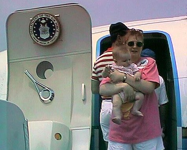 """Kathy and Sydney about to board """"Air Force One"""" during the 1998 DOD Joint Services Open House at Andrews Air Force Base."""