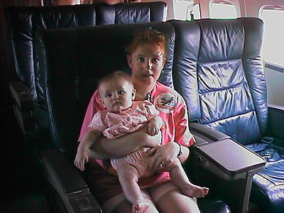 """The dignataries (Kathy and Sydney) traveling in style aboard """"Air Force One"""" during the 1998 DOD Joint Services Open House at Andrews Air Force Base."""