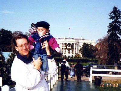 Pat and Sydney Kane on our way to see the National Christmas Tree after finishing our tour of the White House.