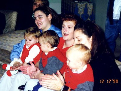 Kathy and Sydney Kane with Erin (far left), Sue and her two boys, Remi and Zane at the Kennedy-Warren children's Christmas party.