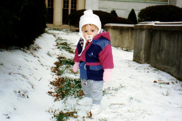 A white Christmas! Sydney Jean Kane out in front of the Kennedy-Warren on Christmas Eve.