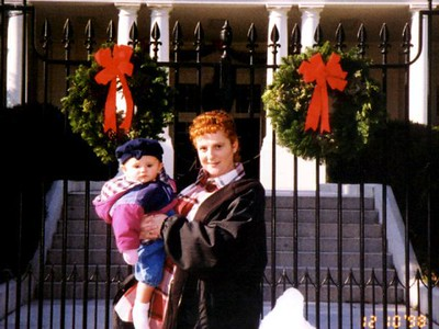 Kathy and Sydney Kane at the east entrance to the White House. We just finished a daytime tour to see the beautiful Christmas decorations. Too bad they wouldn't let us take pictures inside!