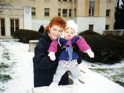 A white Christmas! Kathy and Sydney Kane out in front of the Kennedy-Warren on Christmas Eve.