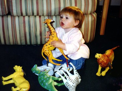 Sydney Jean Kane enjoying the new animals that Mommy bought her at Norfolk's Lynnhaven Mall. We were all in town on business.