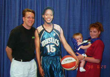 """Pat, Kathy and Sydney Kane after the game with """"Nikki McCray"""" at the WNBA Phoenix Mercury vs. Washington Mystics game at the MCI Center."""