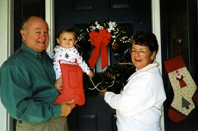 Grandma and Grandpa's 1998 Christmas card picture with Sydney Jean Kane.