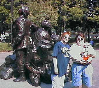 Kathy, Kathy and Sydney at the Vietnam Women's Memorial.