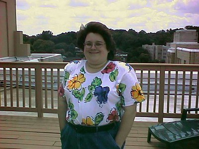 Kathy on the rooftop deck of the Kennedy Warren