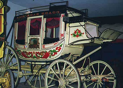 """A mid-1800's American stagecoach, """"Rail Road Coach,"""" at the National Museum of American History. Kathy took a picture of it because she thought it was pretty."""
