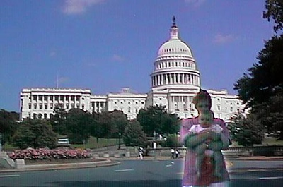 Kathy and Sydney in front of the U.S. Capitol Building, which was on the way home from the 1998 DOD Joint Services Open House at Andrews Air Force Base.