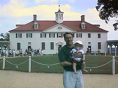 Pat and Sydney Kane in front of George and Martha Washington's home at Mount Vernon.