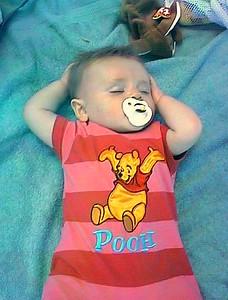 Sydney taking a nap on Virginia Beach