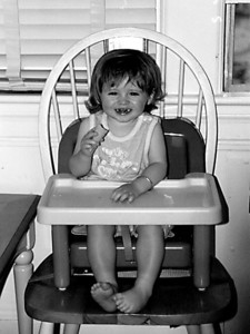 Sydney having a snack in our apartment in Washington DC.