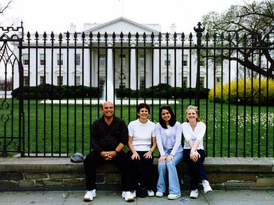Richard, Hilarie, Melissa and Jennifer Nichols in front of the White House. The Nichols had perfect timing as the weather was beautiful that day.