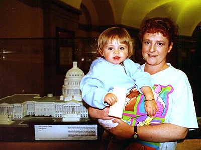 Sydney and Kathy Kane viewing the exhibits on the bottom floor of the U.S. Capitol.