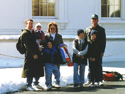 Pat and Sydney Kane, with the Roth family (from left to right--Nathan, Betsy, Ryan, Grady and Frank) in front of the White House. Thanks to Sydney, we were able to join the tour WITHOUT A WAIT. No tickets were required this day and when we went to get in line (probably about an hour wait) one of the Park Service rangers said she didn't want Sydney waiting out in the cold that long, so we went to the front of the line :-)
