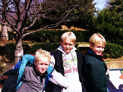 Nathan, Ryan and Grady Roth outside (better than inside!) the lion exhibit at the National Zoo.