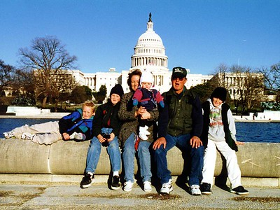 After the LONG walk from the Lincoln Memorial, the Roth clan (L to R -- Nathan, Grady, Betsy, Frank and Ryan) and Sydney Kane (on Betsy's lap) arrive at the U.S. Capitol.