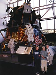 Ryan, Grady and Nathan Roth in front of the lunar lander at the National Air and Space Museum.