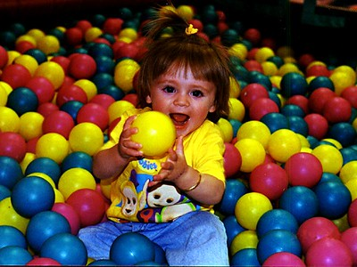 Not having her cousins around to play with anymore, Kathy gave Sydney Jean Kane a special treat by taking her to Discovery Zone.