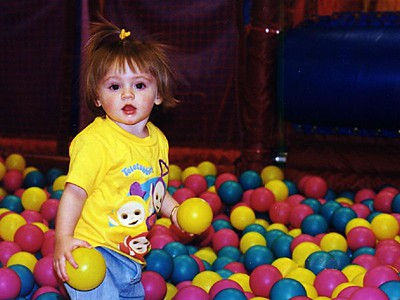 Given how much Sydney Jean Kane loves to play with balls, this Discovery Zone is like Mecca to her.