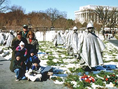 Patrick and Sydney Kane with Frank, Betsy, Grady, Nathan and Ryan Roth at the Korean War Veterans Memorial.
