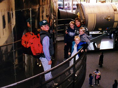The Roth clan about to enter the Sky Lab orbiter at the National Air and Space Museum.