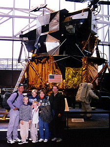 Frank, Grady, Ryan, Nathan and Betsy Roth with Patrick Kane in front of the lunar lander at the National Air and Space Museum.