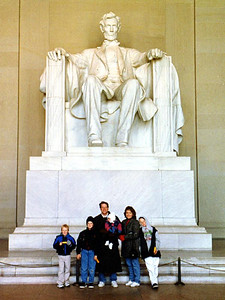 Patrick and Sydney Kane with Nathan, Grady, Betsy and Ryan Roth at the Lincoln Memorial.