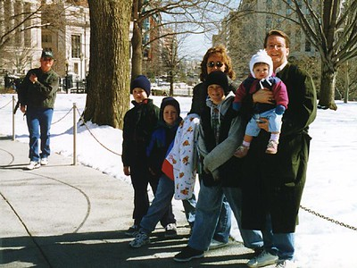 One last picture before leaving the White House grounds. Don't you just love the snow? From left, Frank, Grady, Nathan, Ryan and Betsy Roth, and Sydney and Pat Kane.