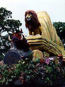 Simba and Pumbaa as part of the Walt Disney World parade.