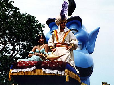 Aladdin, Jasmine and the Genie in the parade at Walt Disney World.