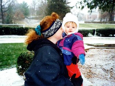 """Hey look, it's snowing!"" Sydney Jean Kane is enjoying the light snowfall with Kathy outside the Kennedy-Warren."