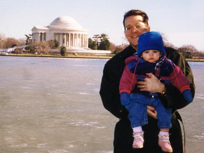 Patrick and Sydney Kane in front of a frozen Tidal Basin, with the Thomas Jefferson Memorial in the background. The Tidal Basin is surrounded by Japanese flowering cherry trees which bloom each Spring for a mere two weeks. We can hardly wait!