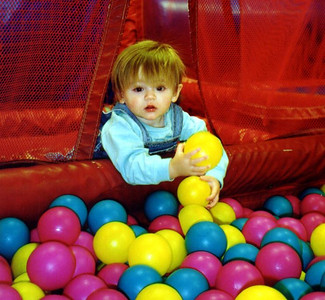 """""""You want me to go back in? Are you crazy?!"""" Sydney Jean Kane having fun at Discovery Zone."""