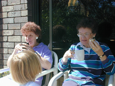 Sue and Lorraine relaxing at the Staniforth's home in Worronora, New South Wales, Australia.