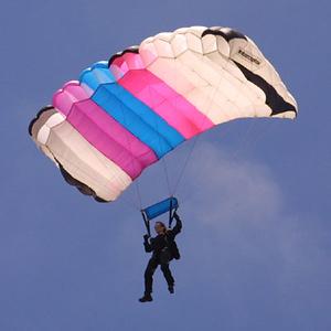 Parachutist kicking off the Seabee Days festival