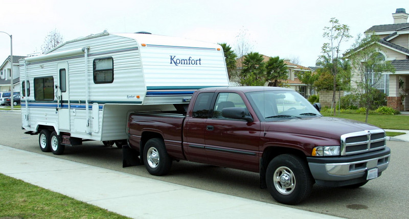 Our 2002 Dodge Ram 2500 with Cummins diesel and 2001 Komfort 23F fifth wheel. When we were tent camping, I'd be lucky to get the family out once a year. Now that Kathy has a heated space and the kids can get a bath, we're getting out every six weeks or so. Lots of good quality time and fun!