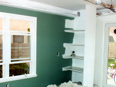 The playroom, as is much of the rest of the house, is being painted with Dunn Edwards' Horn-to-Horn.