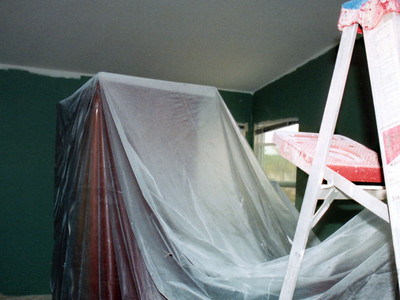 We looked at a different color for the master bedroom, but in the end it also ended up, as is much of the rest of the house, being painted with Dunn Edwards' Horn-to-Horn.