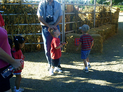 Christopher and his headless daddy with Christopher's preschool class at the Faulkner Farms pumpkin patch in Santa Paula.